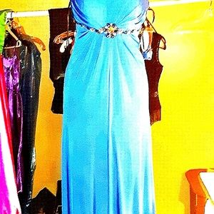 Long Boho blue gown SIZE 0